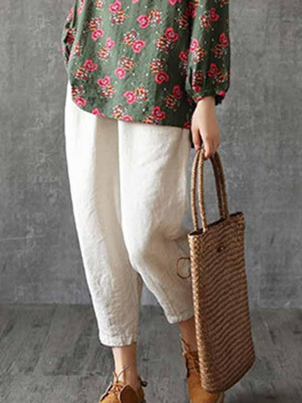 wiccous.com Plus Size Bottoms Beige / L Plus size cotton linen casual pants