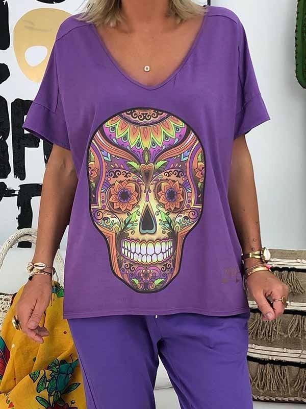 wiccous.com Plus Size Tops Purple / S Skull print t-shirt