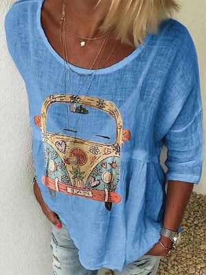 wiccous.com Plus Size Tops Blue / S Round Neck Car Print T-Shirt