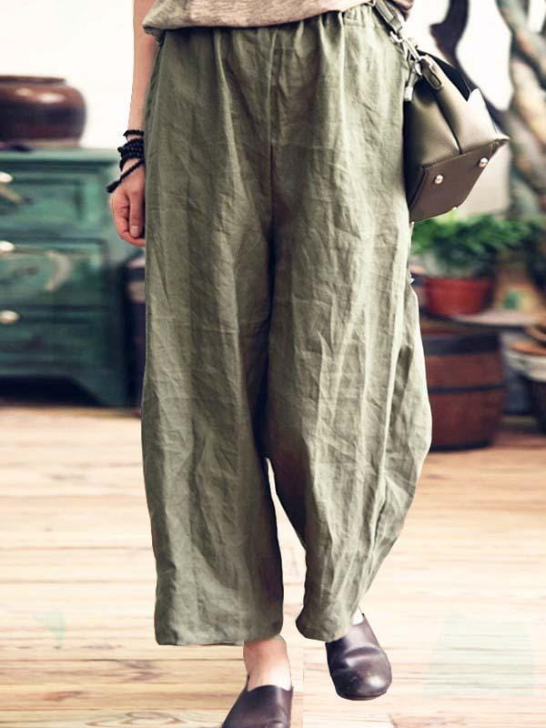 wiccous.com Plus Size Bottoms Dark Green / L Plus Size Cotton Linen Loose Pants