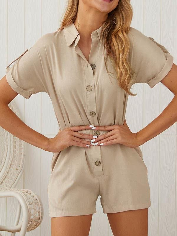 wiccous.com Bottoms Khaki / S Button Up Casual Romper With Pocket