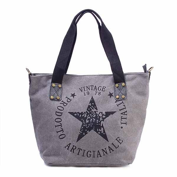 wiccous.com Bags Grey Five-Pointed Star Handbag Shoulder Bag Canvas Bag