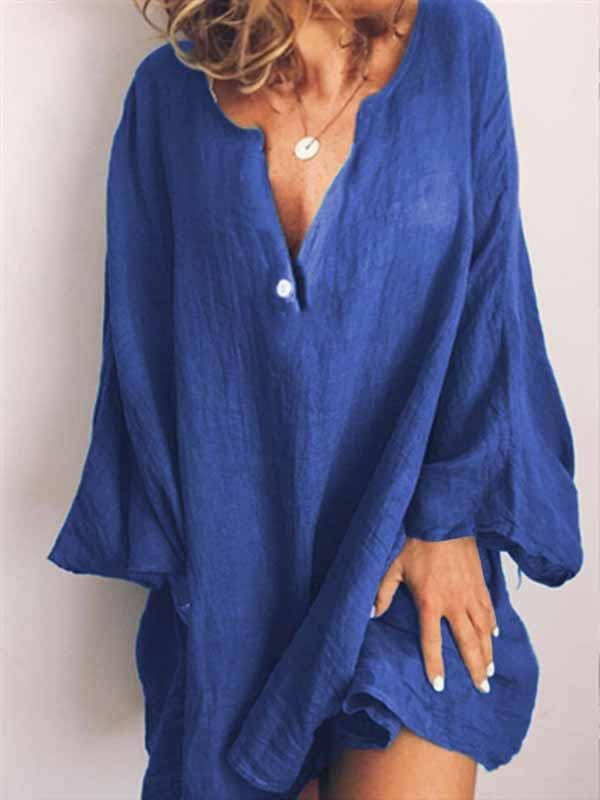 wiccous.com Plus Size Dress Blue / S Solid color V-neck dress