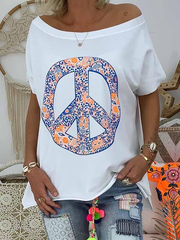wiccous.com Plus Size Tops Blue / S Peace Skull Print T-Shirt