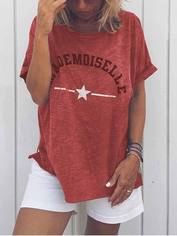 wiccous.com Plus Size Tops Red / S Mademoiselle Star Print T-Shirt