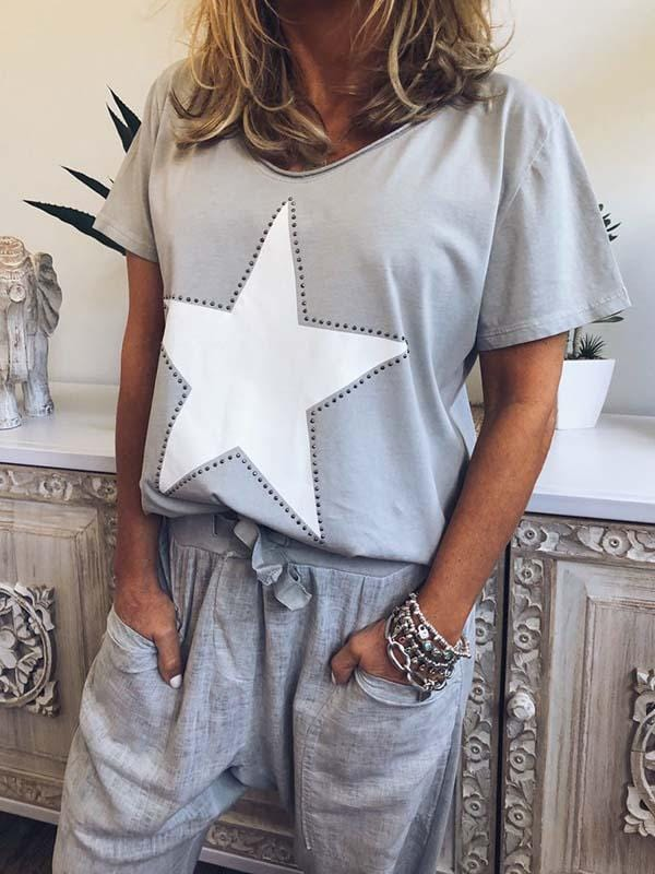 wiccous.com Plus Size Tops Grey / L Plus Size Star Print T-Shirt