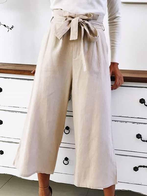 wiccous.com Plus Size Bottoms Beige / S Casual Wide Leg Pants