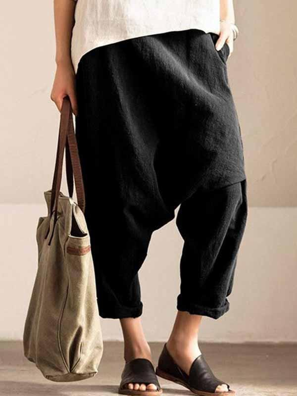 wiccous.com Plus Size Bottoms Black / L Plus size cotton linen harem pants