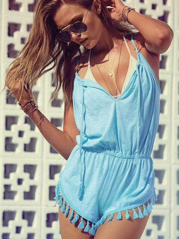 wiccous.com Cover-Ups Sky blue / S V-Neck Sling With Pleated Hem Tassel Jumpsuit