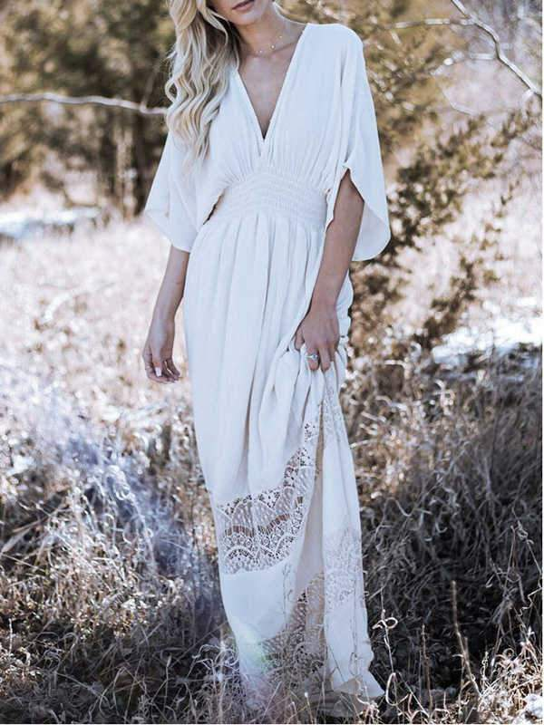 wiccous.com Cover-Ups White / One Size Synthetic Cotton Lace Stitching Blouse Beach Dress