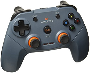 Amkette Evo Elite Wireless Gamepad For PC/Laptop & PS3, With Dual Vibration Rumble Effect & Two Thumb Sticks (2.4GHz USB Receiver Connection ) (Concrete Grey) - BROOT COMPUSOFT LLP
