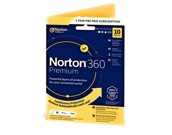 Norton Antivirus 360 PREMIUM 10 USER 1 YEAR SY-21409827