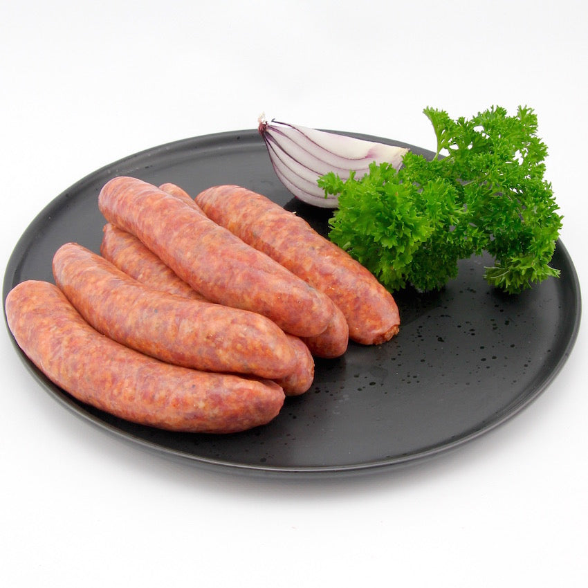 Beef, Pear, Caramelized Onion and fresh Mushroom Sausages x 4 (approx. 450g - 500g)