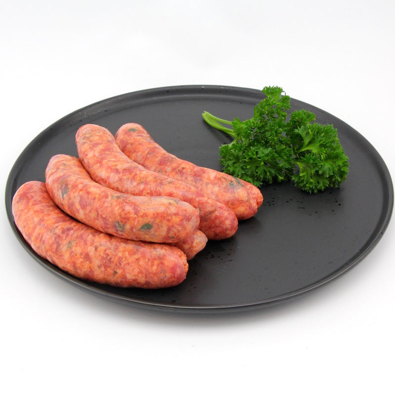 Beef, Sundried Tomato and fresh Basil Sausages x 4 (approx. 450g - 500g)