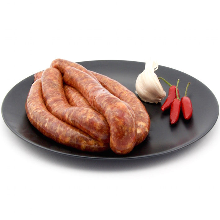 Beef with Garlic, Tomato, chilli and Rocket Sausages x 6 (approx. 470g - 520g)