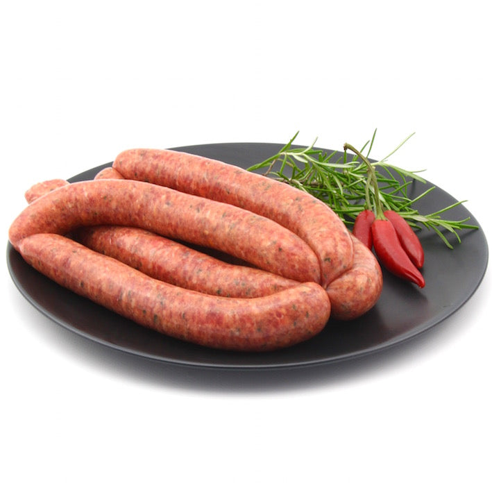 Chiili Beef Sausages x 6 (approx. 470g - 520g)