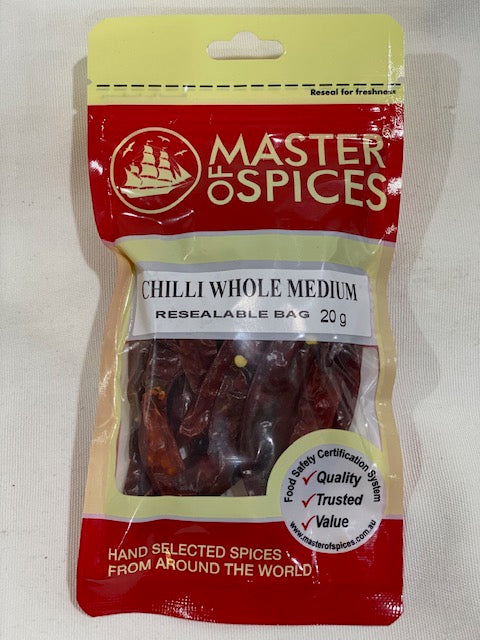 Master of Spices - Chilli Whole Medium 20g