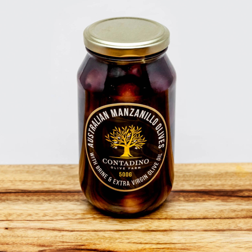 Australian Black Manzanillo Olives - Brine & Extra Virgin Olive Oil 500g