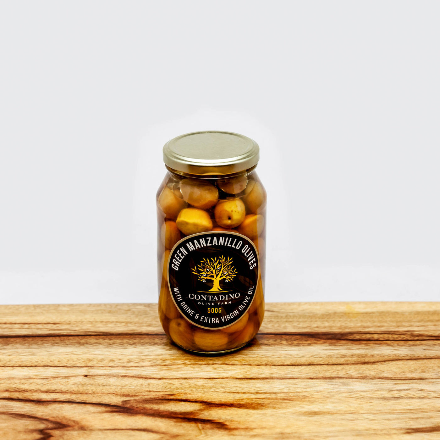 Green Manzanillo Olives - Brine & Extra Virgin Olive Oil - 500g