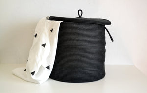 Large Storage Rope basket with lid in black