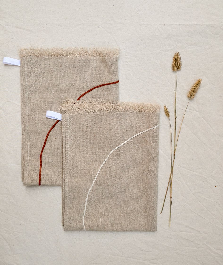 Set of two Natural Linen Kitchen towels