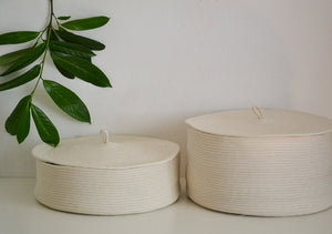 Storage Rope basket with lid in natural