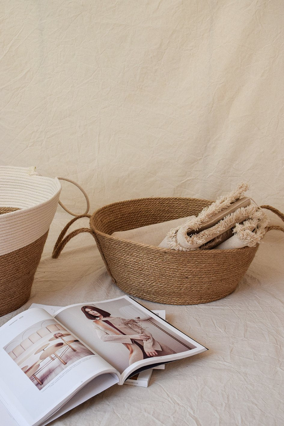 Jute storage basket