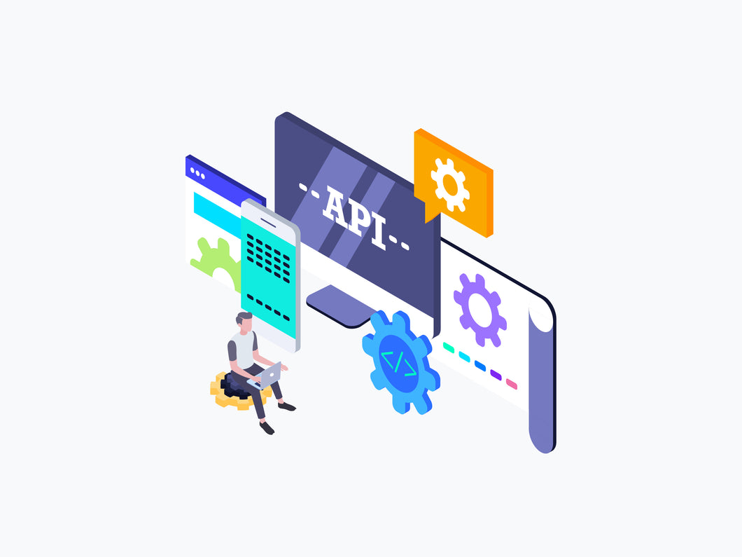 API Interface Isometric Graphic - 29element