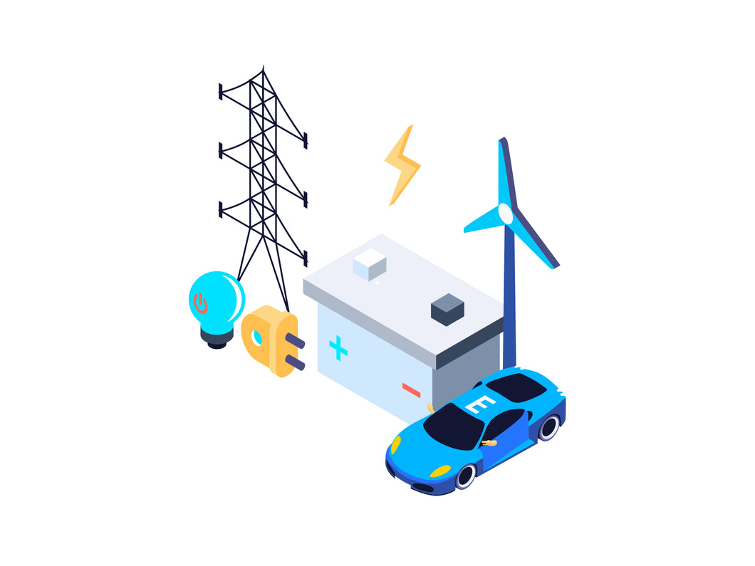 Electric Power Isometric Graphic - 29element