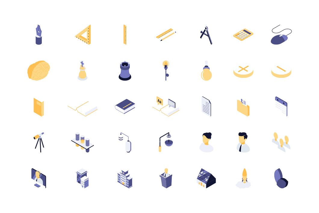 Education & Science 42 Isometric Icon - 29element