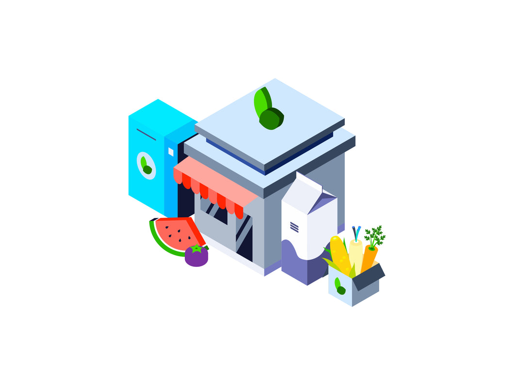 Organic Food Store Isometric Graphic - 29element