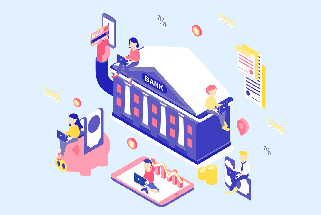 Online Banking Isometric Concept - 29element