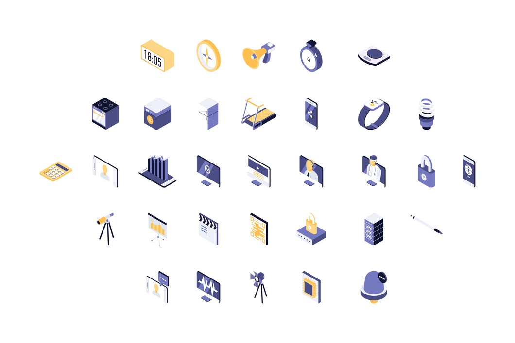 Technical and Divices 63 Isometric Icon - 29element