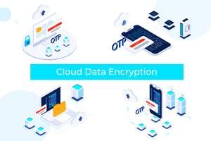 Cloud Data Encryption on Blockchain Isometric Illustration - T2