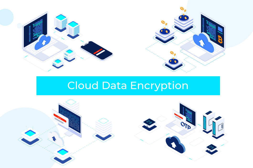 Cloud Data Encryption Blockchain Isometric 1 - T2