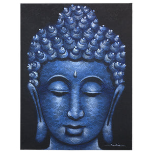 Buddha Painting - Blue Brocade Detail