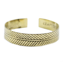 Load image into Gallery viewer, Brass Tibetan Bracelet - Wide Tribal Leaf