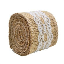 Load image into Gallery viewer, Rustic Style Jute Burlap Hessian Ribbon With Lace Trim 2 Meter Width 5cm