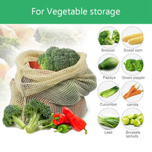 Load image into Gallery viewer, Reusable Produce Mesh Bags Organic Cotton Washable