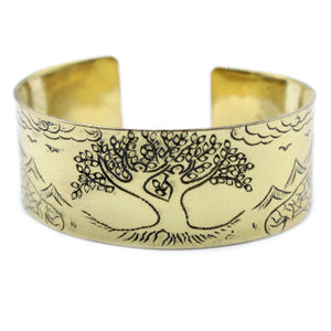 Brass Tibetan Mantra Bracelet - Tree of Life