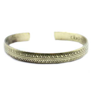 Brass Tibetan Bracelet - Slim Tribal Leaf