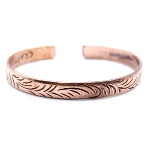 Copper Tibetan Bracelet - Slim Tribal Swirls