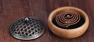 Bamboo Incense Burner with Metal Cover - Eco-friendly