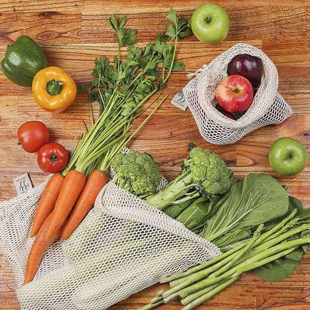 Premium Organic Cotton Mesh Drawstring Reusable Washable Produce Bags 9pcs/set