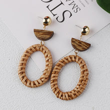 Load image into Gallery viewer, Handmade Rattan Straw Drop Earrings