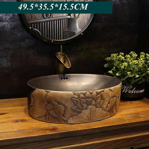 Carved lotus antique art ceramic washbasin