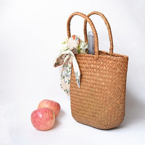 Casual Natural Straw Braided Tote Bag - Eco-friendly
