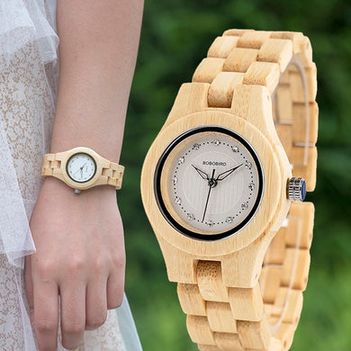 Ladies Quartz Watch Full Bamboo Christmas Gift