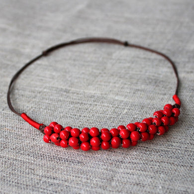 Red Ceramic Necklace Valentine's Day Gift