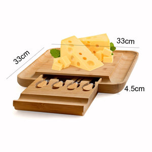 Bamboo Cheese Board With Slide Out Drawer and Cutlery Knife Set of Four - Eco-friendly